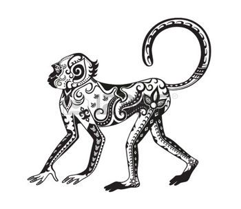 tribal monkey: The stylized figure of an monkey in the festive patterns