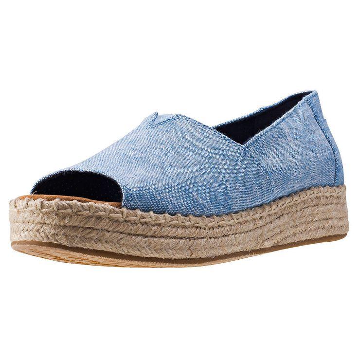 Toms Open Toe Platform Alpargata Womens Espadrilles Chambray Shoes