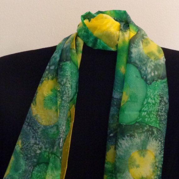 Handpainted Long 100% Silk Scarf. Symphony of yellow & by Scarfaki