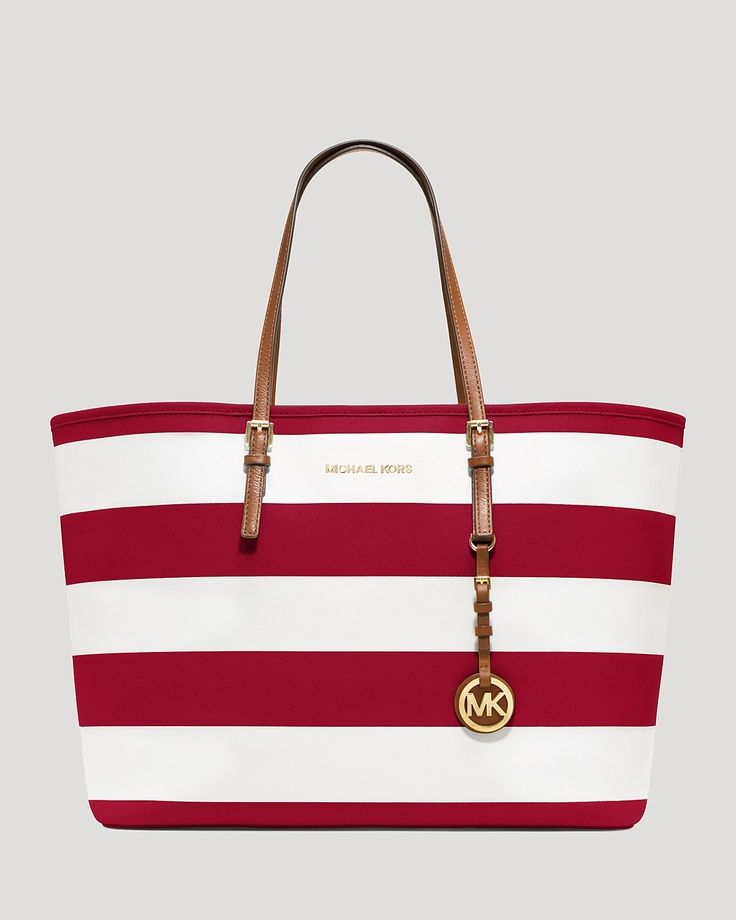 MICHAEL Michael Kors Medium Jet Set Striped Travel Tote - this is  definitely my new spring bag, love that Hamptons look, especially since I  spend most of my ...