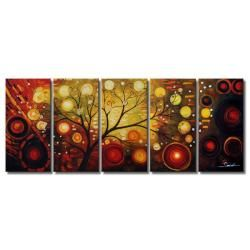 'Life Tree and The Universe' Oil Paint 5-piece Canvas Art Set
