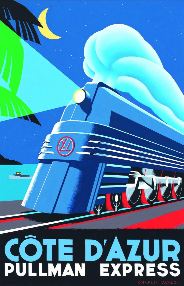 ART DECO STYLE TRAVEL POSTER---Côte d'Azur - Pullman Express. Artist: Charles Avalon #art_deco #vintage_posters