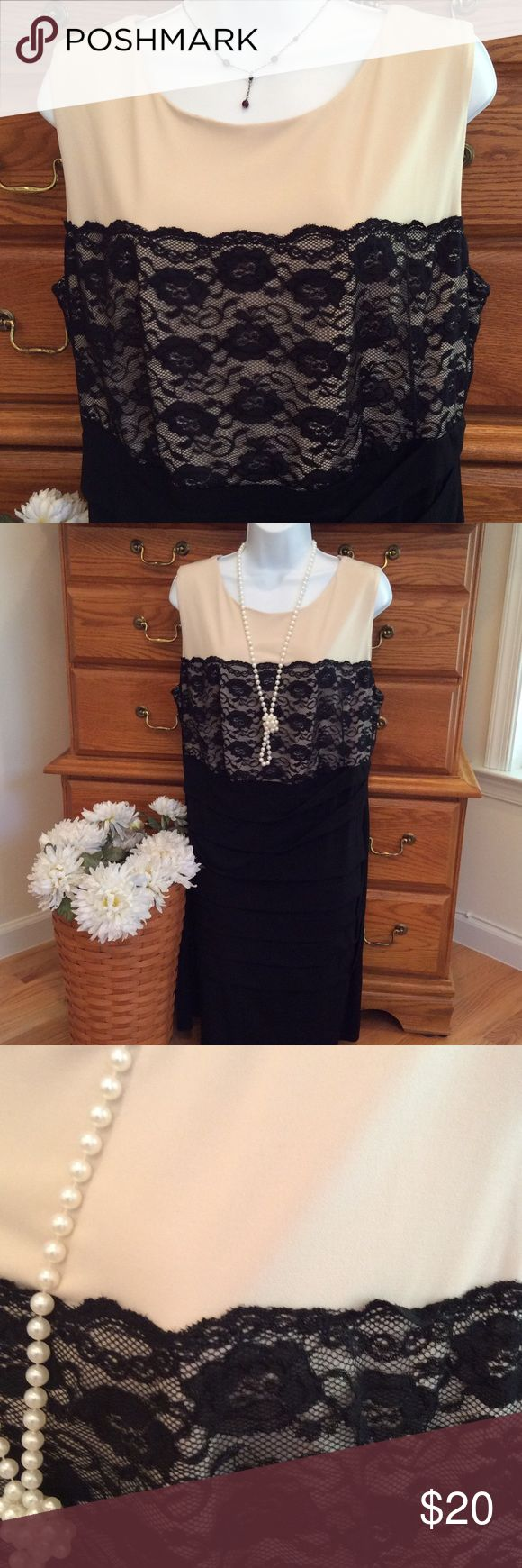 """Dress Barn Black Lace Dress Polyester and spandex.  EUC.  Colors are a black and a creamy beige or nude.  Approximately 39"""" in length and when laid flat and measured from armpit to armpit it is 21"""" across.  Has some stretch but is a form fitting dress. There is a solid black ruffle going down only the front of the dress.  Feels like a liquid knit. Dress Barn Dresses Midi"""