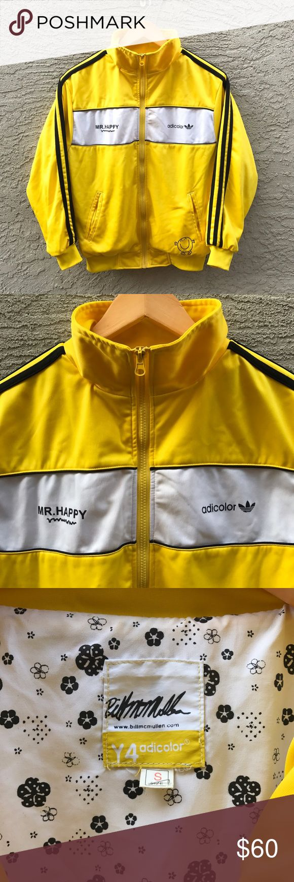 Vintage Adidas adicolor yellow jacket Great condition// adicolor yellow // small // no rips no stains no peeling // yellow track suit jacket // black three stripes// rare find Adidas Jackets & Coats