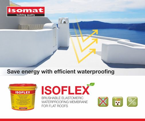 Protect your flat roofs from moisture and save energy with ISOFLEX! By covering your flat roof with the white waterproofing liquid ISOFLEX, not only will you achieve efficient and durable waterproofing, but you will also save energy, since it reflects solar radiation by 90%. This way, you will pay less for keeping your space cool during the hot summer months. It is also the ideal solution for waterproofing of difficult areas and sealing of cracks. http://www.isomat.eu/product/isoflex-2-en/
