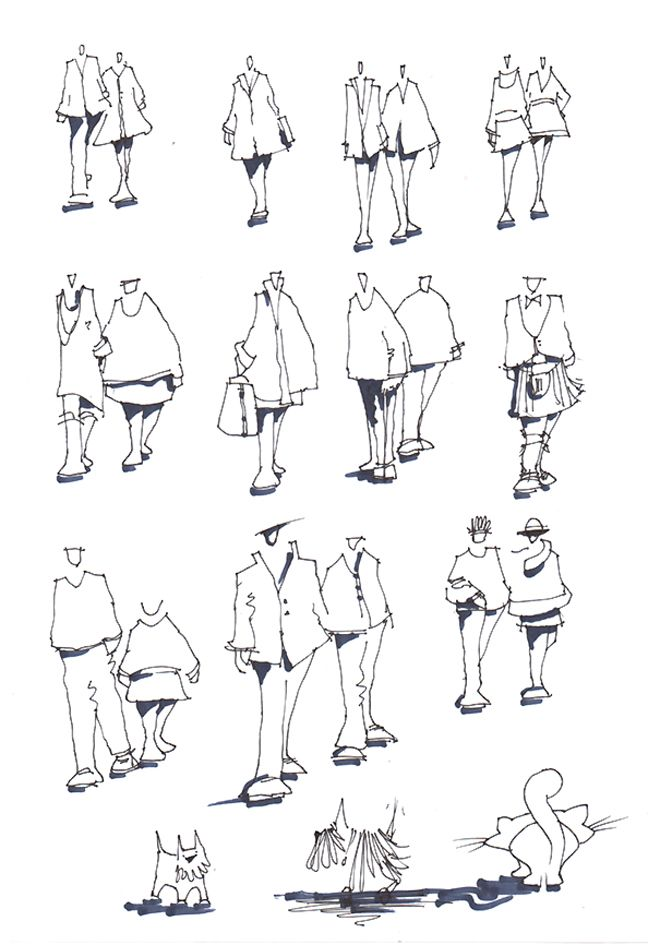 Interior Design Hand Sketches: ARCHITECTURAL PEOPLE By Glen Craig. Hand Drawn Figures And