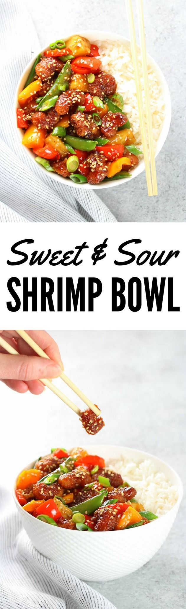 Sweet and Sour #Shrimp Bowl: a family-friendly dinner the pickiest eaters will love!  | Asian | Seafood | Easy Weeknight Dinner Recipe | http://tasteandsee.com via @h_tasteandsee