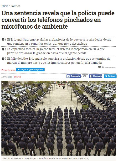 Una sentencia revela que la policía puede convertir los teléfonos pinchados en micrófonos de ambiente / @eldiarioes   #readyfordigitalprivacy