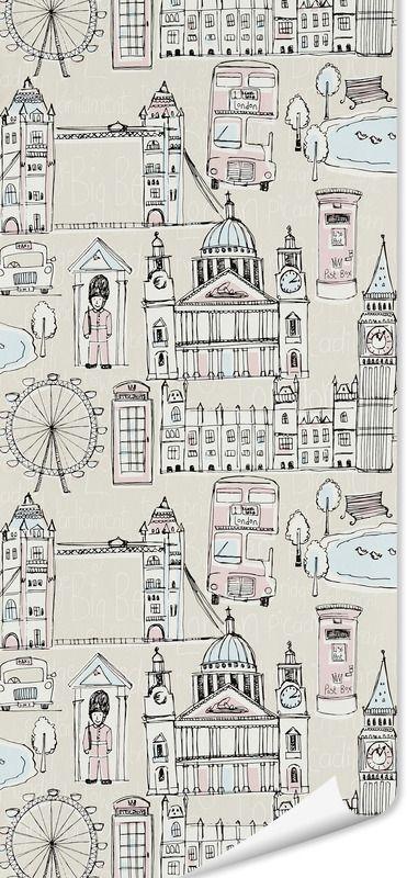 Papier peint LONDON LINE coloris écru rose pastel - Papier Peint - 4murs