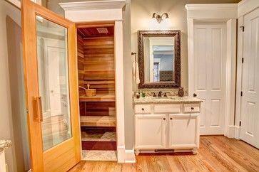 i like the small sauna space here spa bathroom design