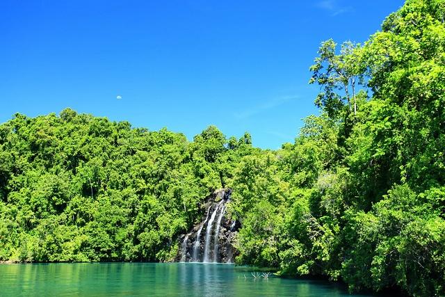 Kahatola Waterfalls in Loloda Islands, West Halmahera, North Maluku, Indonesia.