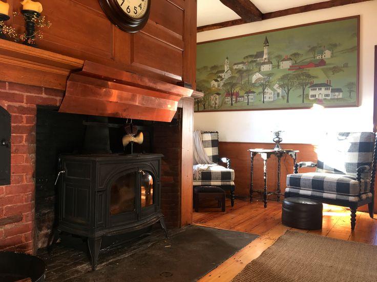 Wood stove, wall painting, mural, buffalo check