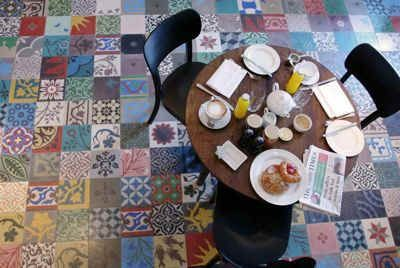 Patchwork cement tile, available from Villa Lagoon Tile.