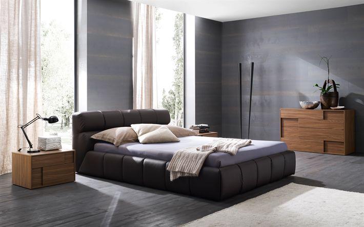 Download wallpapers interior bedroom, modern design, stylish bedroom, purple shades, 4k, gray walls