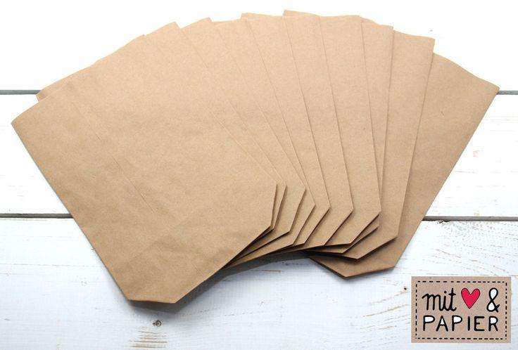 10 Papiertüten braun Gr. S Boden Geschenktüten  von MitHerzundPapier auf DaWanda.com