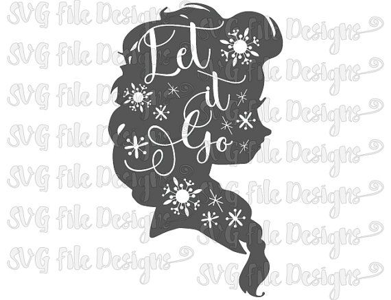 Let It Go Elsa Frozen Snowflakes Silhouette Word by SVGFileDesigns
