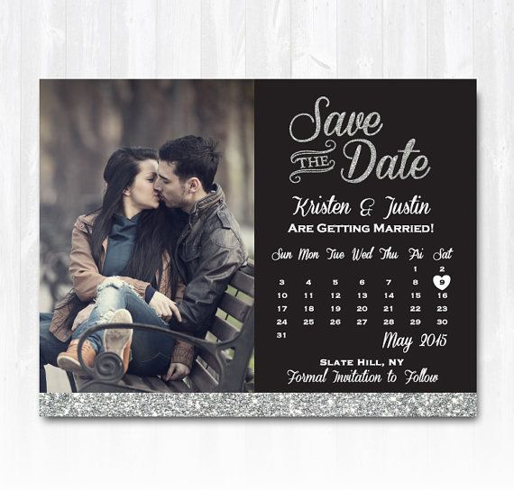 Silver Glitter Save The Date Magnet or Card DIY PRINTABLE Digital File or Print…
