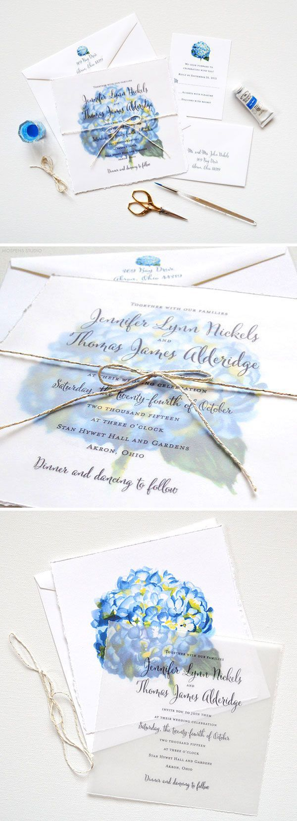 Send your guests an art print invitation! Watercolor Wedding Invitation Suite with original hand painted blue hydrangea flower art, hand torn edging, and twine! - http://www.mospensstudio.com