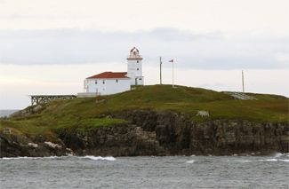 Green Island (Catalina) Lighthouse, Newfoundland Canada.  Located on an island at the southern entrance to Catalina Harbour. Latitude: 48.504145 Longitude: -53.043269