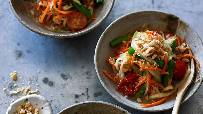 Carrot and cucumber som tam recipe | SBS Food