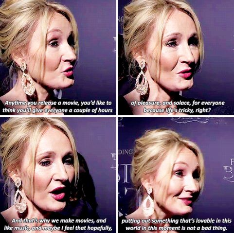 J.K.Rowling - What do you think that means to be releasing this film now when Donald Trump is about to become president?