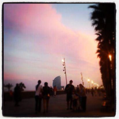The beach and La Barceloneta when the sun sets #Barcelona