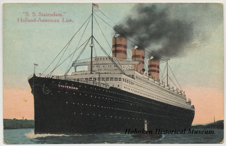 ca. 1916 color postcard of the S.S. Statendam, Holland-America line.  (Hoboken Historical Museum)