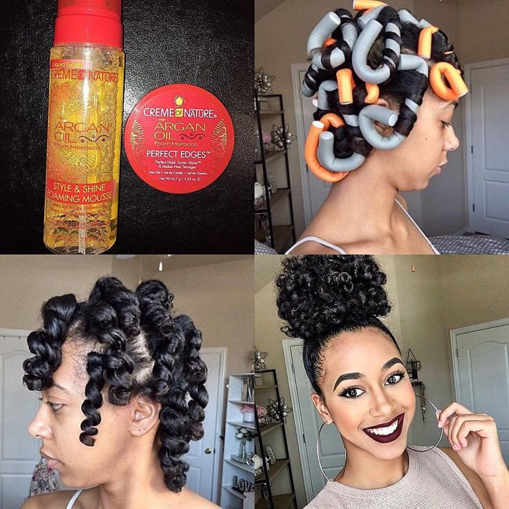 """8,249 Likes, 42 Comments - ProtectiveStyles (@protectivestyles) on Instagram: """"@markele.dejanae Step by step Flexi-Rod Set Pictorial using #cremeofnature products such as Style &…"""""""