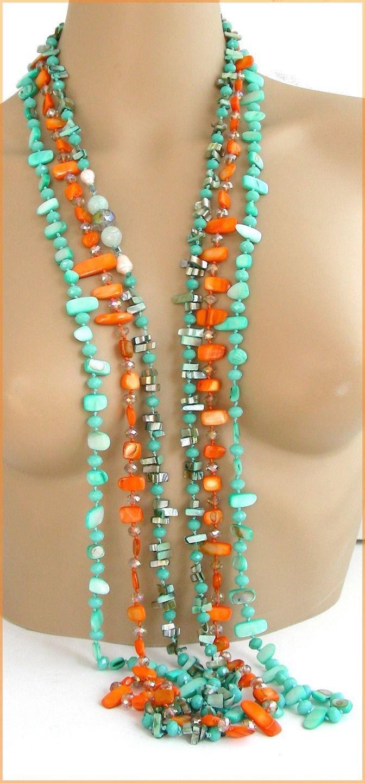 Collier / Sautoir/ Orange-Vert-Turquoise - Perles culture, Agate et Nacre : Collier par ladyplazza