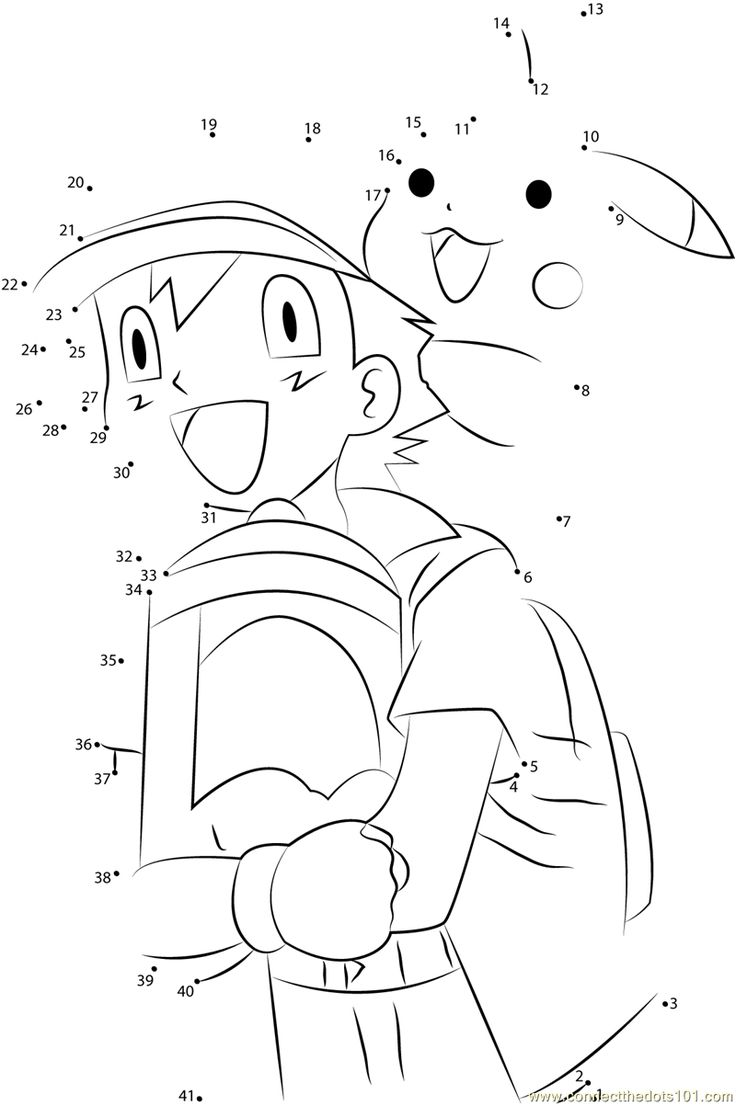 Download or print Happy Ash and Pikachu dot to dot