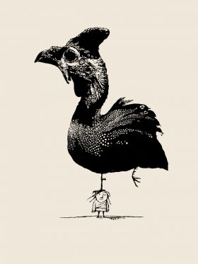 A guinea fowl and a girl