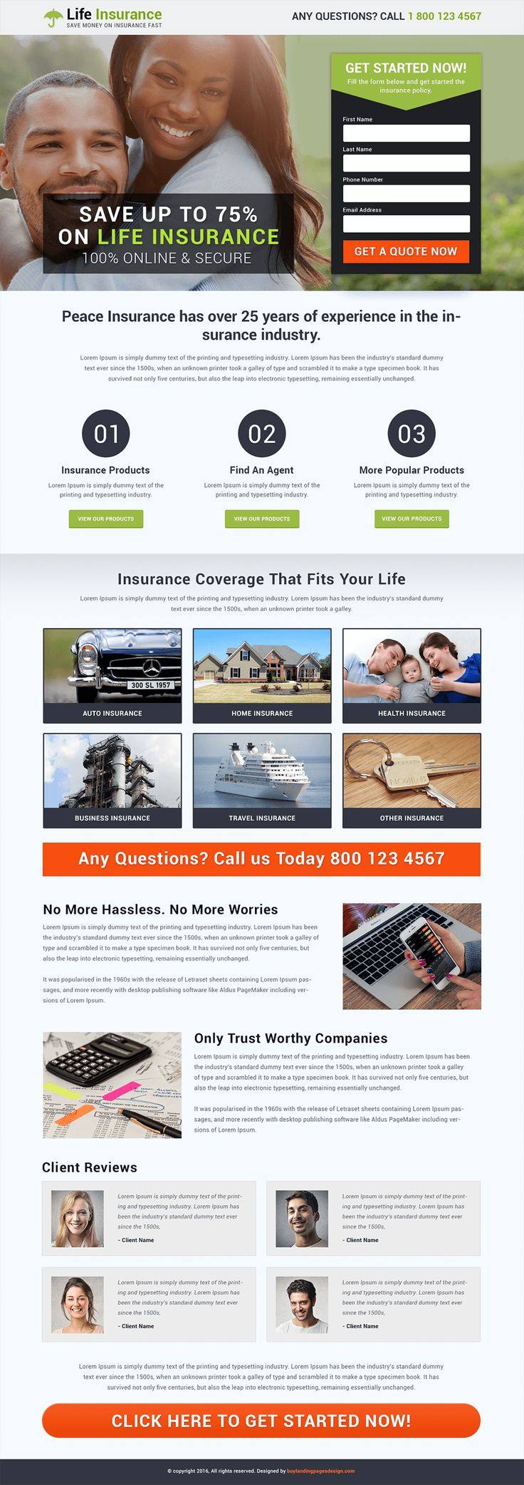 Responsive Life Insurance Landing Page Design $29 only BuyNow!