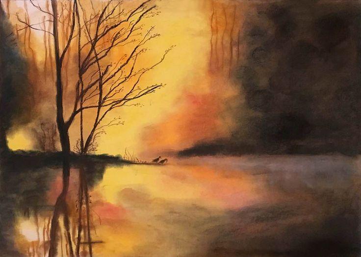 sucha pastela, pejzaż, jezioro, las, mgła, soft pastel , landscape, forest, lake, fog, Edyta Rafalska