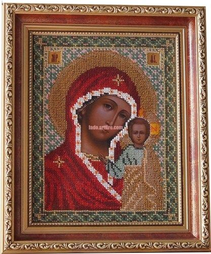 Virgin Mary Kazanska orthodox Christian bead embroidered icon