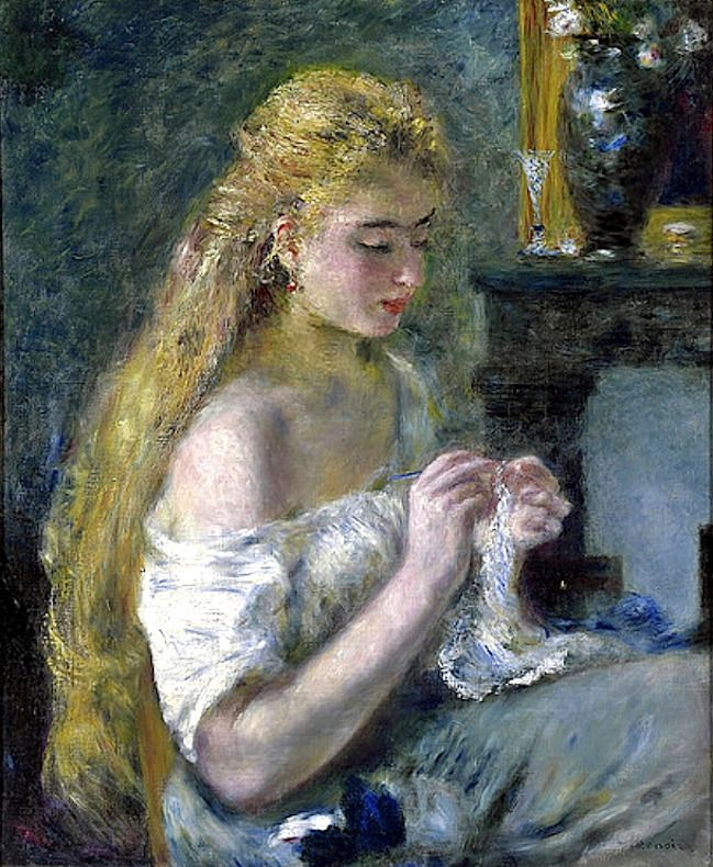 Pierre-Auguste Renoir Girl crocheting 1875