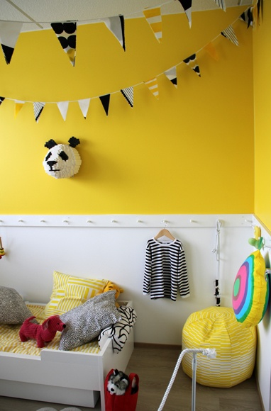 Koti 3:lle: Home decor (Housing fair 2012 in Finland). Yellow, white and black for kid's bedroom!