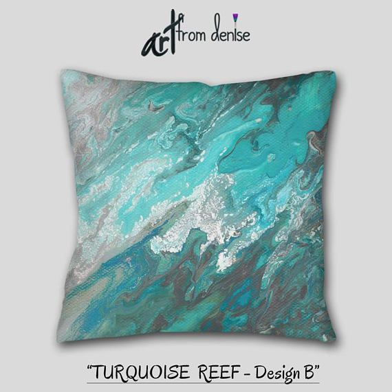 Modern Throw Pillows Teal Gray Turquoise Blue And White Etsy Couch Pillow Sets Teal Throw Pillows Coastal Throw Pillows