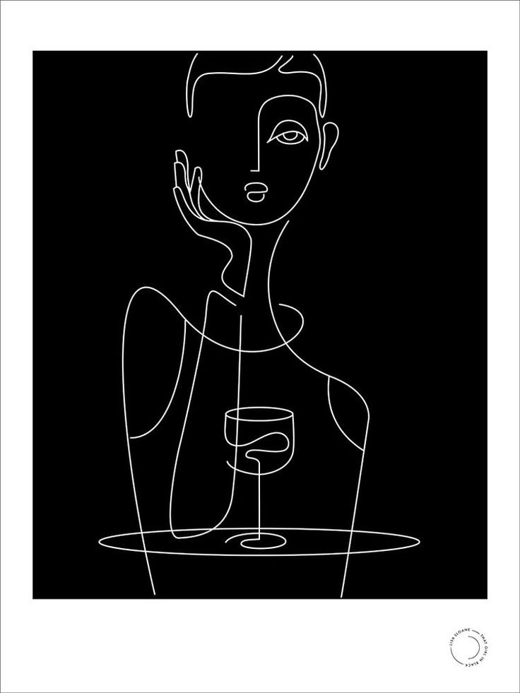 'wine' limited edition print by that girl in black (café series)