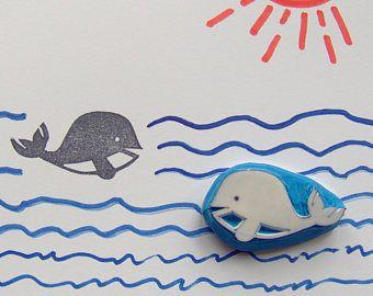 Timbro di gomma, bollo balena, bambino balena bollo, bollo di mare, timbro oceano, animali dell'oceano, wale gigante, progetti scolastici, cardmaking, mestieri della balena