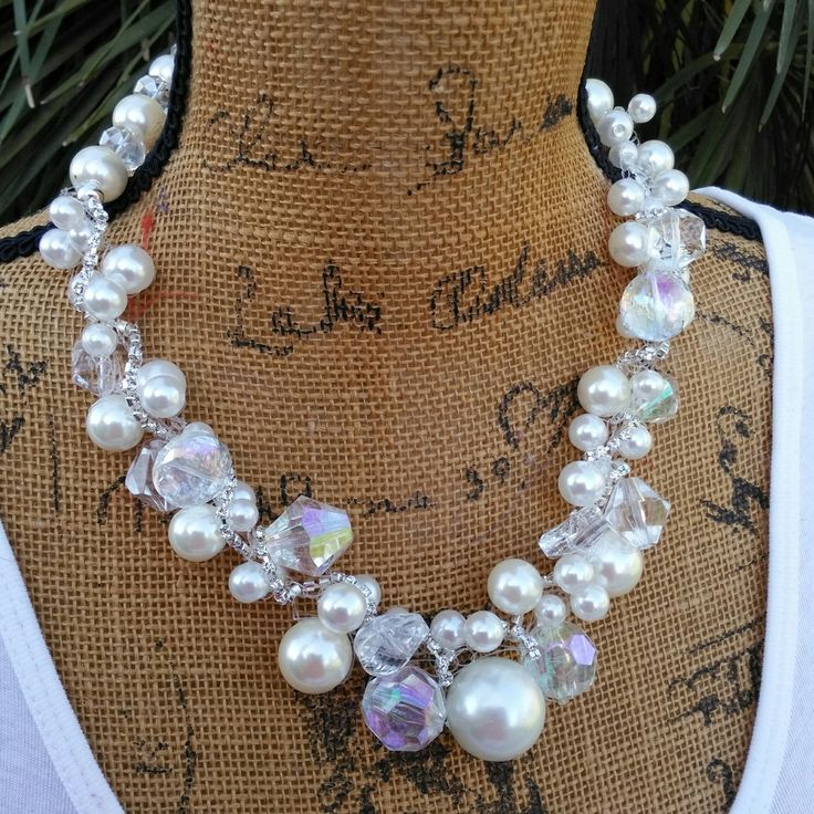 Please Pin if you like this new design!   See What's New in the Bling Box!  Check out my 20% OFF Sale!!!! Use Code: FALL20  Crystal and Pearl Bridal Crocheted Handmade Statement Necklace, Multi-Strand Statement Necklace