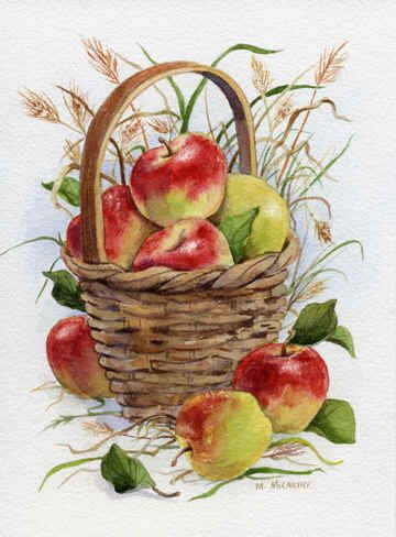 Basket of Apples with Grasses by Maureen McCarthy ~ autumn ~ harvest