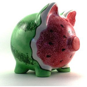 Ceramic Watermelon Piggy Bank | cute design @ jars of cute - Polyvore