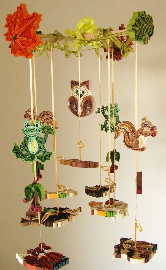 Crib Mobile Animals Mobile Forest Mobile Quilled by tsipouritsa (Etsy)