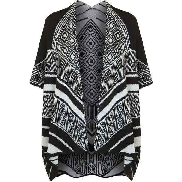 **Aztec Slouchy Cardigan by Wal G (£27) ❤ liked on Polyvore featuring tops, cardigans, black, slouchy cardigan, aztec cardigans, walg, aztec-print cardigans and slouchy tops