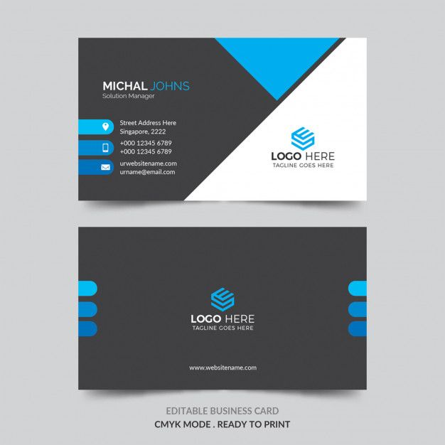 Business Card With Blue Details Printing Business Cards Business Cards Collection Colorful Business Card