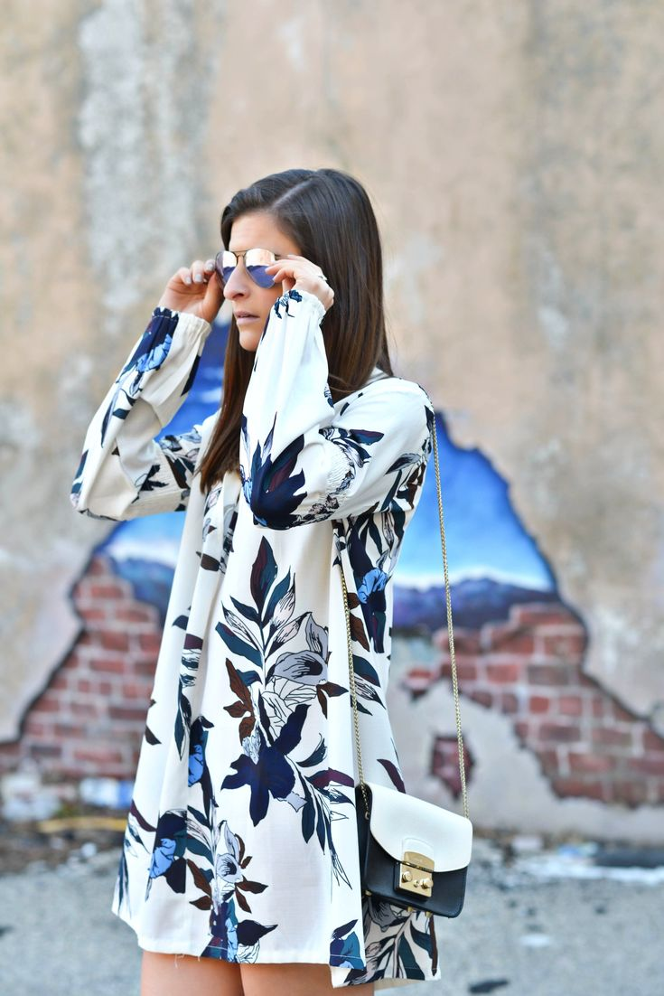 Easily Suede   Free People tunic floral dress, Stuart Weitzman over the knee grey suede boots, Ray-Ban purple mirrored sunnies, Furla mini bag, spring fashion, spring outfit ideas, march outfit, nyc street style, fashion blogger #tobebright