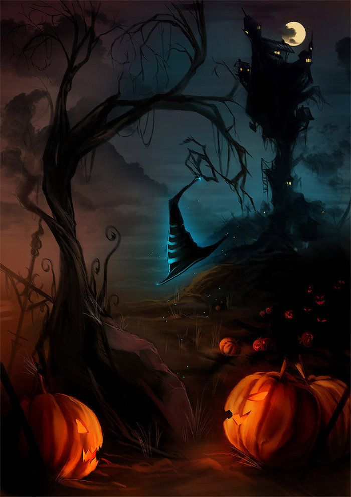 Halloween Hintergrund eine unsichtbare Hexe geht einen Pfad von Jack O'Lantern beleuchtet