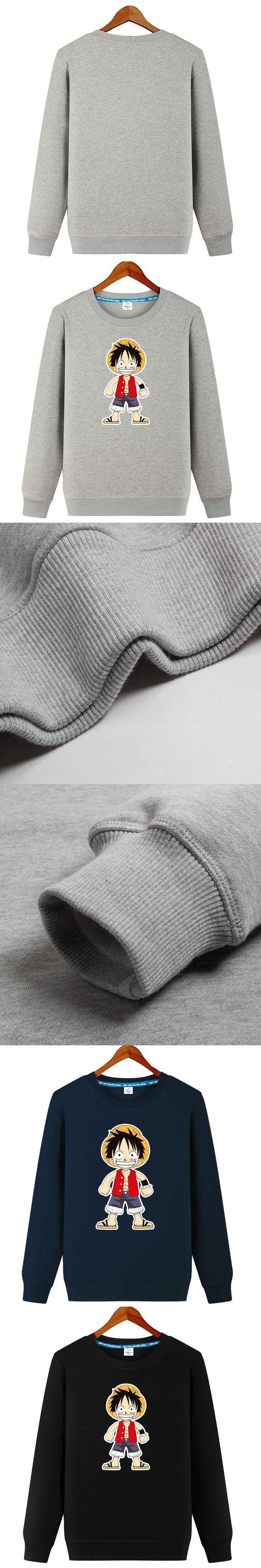 New 2017 Men Women Hoodies Anime One Piece Luffy Printed Cotton Sweatshirts Jacket DIY Custom Pattern S-5XL Casual Loose Lovers