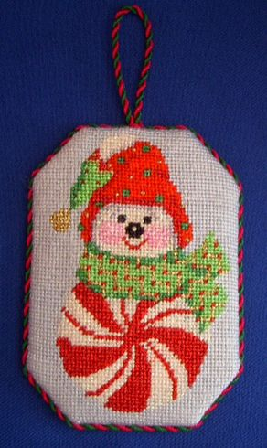 Candy Snowman Needlepoint Ornament