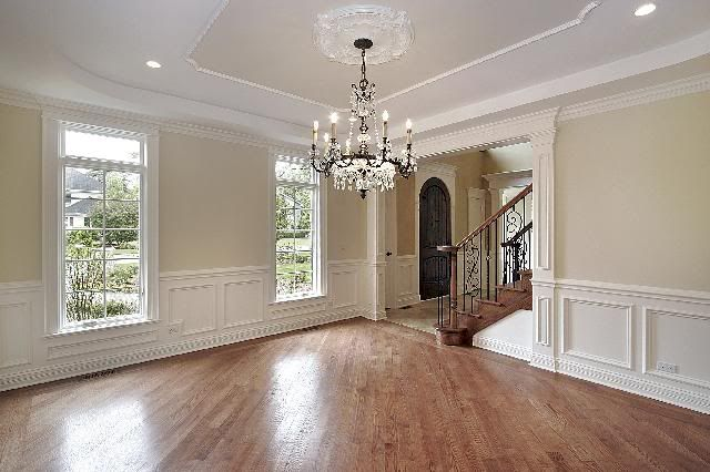 Neutral Dining Room White Wainscoting Hardwood Home